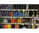 Monster, Redbull, x-rated, redline and other energy drinks available